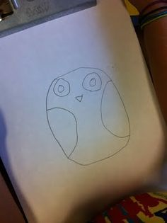 How to draw an owl:  Draw two large circles for the eyes. Add a medium size circle inside the large circle.