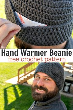 Hand Warmer Beanie: Crochet Beanie with Hand Warmers Whether you are watching football, hunting, or skiing etc, this ear warming beanie has slots for hand warmers! It's a Hand Warmer Beanie! Mens Crochet Beanie, Crochet Beanie Pattern, Crochet Patterns, Crochet Hat For Men, Knitting Patterns, Scarf Patterns, Mittens Pattern, Crochet Gifts, Diy Crochet