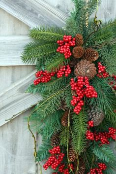 Christmas Swag Red Berries Pinecones Mixed by sweetsomethingdesign
