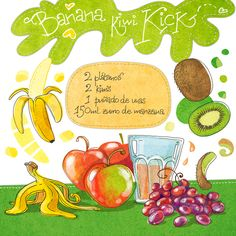 Batido de plátano, uvas, kiwi y zumo de manzana