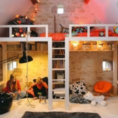 Built in Beds in Attic | Bunk bed built for kids in attic of home!