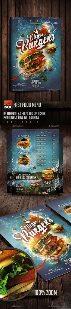 Fast Food Menu on Behance Pizza Menu Design, Food Menu Design, Food Poster Design, Design Posters, Vegan Fast Food, Fast Food Menu, Vegan Foods, Restaurant Flyer, Restaurant Menu Design