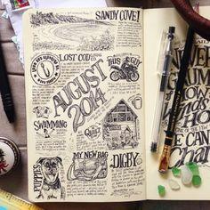 beejaedee | August Sketchblog handlettering & illustration in my Moleskine sketchbook