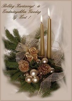 karácsonyi képeslap Christmas Time, Merry Christmas, Advent, Garland, Greeting Cards, Candles, Table Decorations, Crafts, Xmas