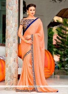 Unique Chiffon Satin Patch Border Work Designer Saree