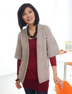 Cozy Cable Hooded Cardigan   Yarn   Free Knitting Patterns   Crochet Patterns   Yarnspirations