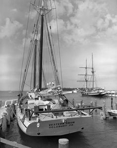 "The historic schooner ""'Western Union"" - Key West 1972  Launched in Key West in 1939, it is the last sailing cable ship on earth and the last example of a traditional American coastal schooner made in the U.S."