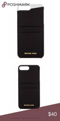 Shop Women s MICHAEL Michael Kors Black size iPhone Phone Cases at a  discounted price at Poshmark. Description  Leather 2 Pockets iPhone 7 Plus. d7b043fab5