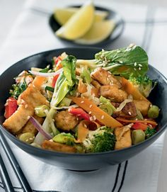 Sesame tofu with pak choi.
