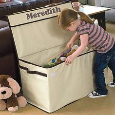 """Large Collapsible Canvas Toy Box! Store toys right in the family room, without acquiring that """"playroom"""" look! With its clean lines and neutral hue, our understated toy chest blends with your décor. So rugged, kids can sit on it, yet it folds flat for easy storage. Bet Grandma would love one for her house, too."""