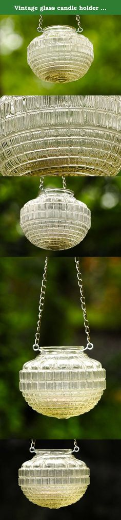 Vintage glass candle holder - rustic lantern - hanging candle holder. Originally this vintage jelly jar or light globe was used as a porch light or indoor cover. Repurposed into a candle holder or hanging mason jar light alternative Vintage glass globe, repurposed as hanging candle holder, the globe is covered with geometric patterns in different sizes. Votive candles or tea lights cast a romantic glow over the crisp fall evenings when illuminating from this vintage glass. Mason jar light...