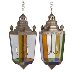Pair of Late 19th Century Anglo-Indian, Tin and Stained Glass Hanging Lanterns