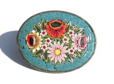 Colorful Blue Oval Mosaic Brooch with Pink & Red by RibbonsEdge, $19.99