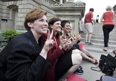 "These female legislators were banned from the Michigan House of Representatives for violating ""house decorum"" by saying the words ""vagina"" and ""vasectomy"" on the house floor during a debate on bills related to abortion and vasectomies. How did they respond? They performed the Vagina Monologues on the front steps. #LisaBrown"