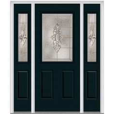 Milliken Millwork 68.5 in. x 81.75 in. Heirloom Master Decorative Glass 1/2 Lite Painted Majestic Steel Exterior Door with Sidelites, Dark Night