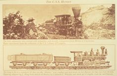 Transporting the Hunley to Charleston, S.C. by rail. It arrived in Charleston on the morning of August 12, 1863.