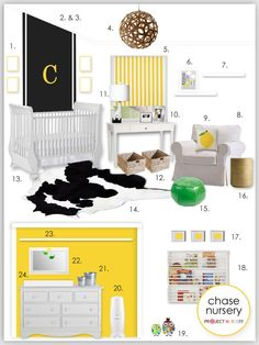 Black and white nursery design board, the vision! #pinparty #nursery