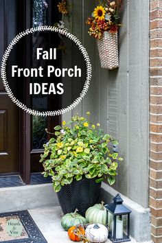 Be inspired by several DIY fall decor ideas that are easy and affordable to create. Fall Home Decor, Autumn Home, Front Door Decor, Front Porch, Fall Mums, Fall Leaf Garland, Porch Decorating, Decorating Ideas, Creative Decor
