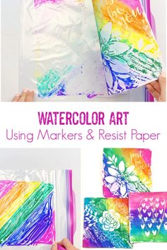 Learn how to create a watercolor background over resist paper using markers and a Ziploc bag. This easy waterciolor method is great for kids and adults. Happy Art, Make Happy, Watercolor Projects, Watercolor Art, Painting For Kids, Art For Kids, Mr Sketch, Cool Art Projects, Fall Projects