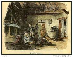 POMMERN: in einer Bauernstube, kolorierter Holzstich von Kühl von 1881