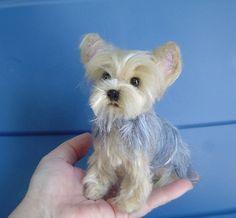 Yorkshire Terrier benutzerdefinierte Haustier Portrait Nadel gefilzt Hund Skulptur Denkmal Miniatur Massanfertigung Yorkie