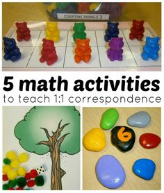 5 math activities for preschoolers that teach 1:1 correspondence from www.fun-a-day.com