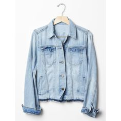 Gap Women 1969 Icon Denim Patchwork Jacket (915 MXN) ❤ liked on Polyvore featuring outerwear, jackets, button jacket, blue denim jacket, denim jacket, long sleeve jacket and patchwork jacket