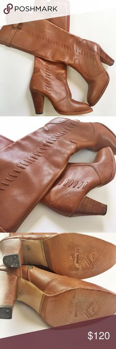 Hurry‍♀️SALE!!!Tanned Leather Boots Beautifully made tanned leather boots worn a few times still in great condition these are size  7 1/2 but fit like 7! Pair these boots with black leggings and your favorite plaid scarf and your out the door!! Danelle Shoes Heeled Boots