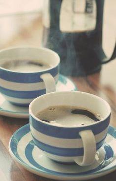 @Terrie Nolan Green, my favorite drink in my favorite style cup. #cornishware #blueandwhite