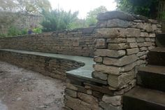 Bench built into retaining wall