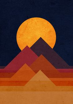 The pyramids, in real life, are three dimensional. This piece presents two dimensional, geometric shapes that combine together to make the appearance of the pyramids and the sunset behind them. Typographie Inspiration, Graphic Prints, Graphic Design, Framed Art Prints, Art Inspo, Modern Art, Illustration Art, Illustrations, Art Drawings
