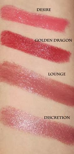 Shiseido Shimmering Rouge Lipstick, $25 - Here's a glimpse of (from top to bottom) the Desire, Golden Dragon, Lounge and Discretion Shades.