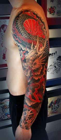 Things you must know about Japanese tattoo art, the history and meaning. Japanese dragon, sleeve, tiger, flower and japanese mask tattoo designs. Red Dragon Tattoo, Dragon Tattoos For Men, Dragon Sleeve Tattoos, Dragon Tattoo Designs, Full Sleeve Tattoos, Tattoo Sleeve Designs, Tattoos For Guys, Dragon Tattoo Oriental, Men Tattoos