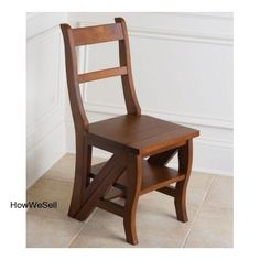 New Wood Folding Step Library Ladder Combo Stepladder Chair Colonial Furniture #Colonial