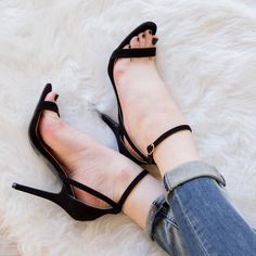 Catch feelings for these black Fernie Heels! Featuring a black faux suede material. Heel cup with strappy detail. Buckles around the ankle strap for secure closure. Prom Heels, Sexy Heels, Strappy Heels, Cute Sandals, Cute Shoes, Me Too Shoes, Talons Sexy, Black High Heels, Luxury Shoes