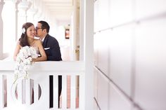 Eunice and Ju Cheng's pastel wedding with an oriental touch at Capella Singapore.  Eunice carried a cascading phalaenopsis bouquet — very of the moment. Read about their beautiful celebration here.. http://www.herworldplus.com/weddings/real-weddings/pastel-wedding-capella-singapore-oriental-touches