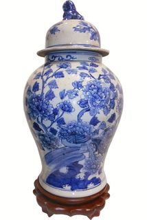 Chinese Porcelain Blue and White Bird and Flower Lion Lid Jar