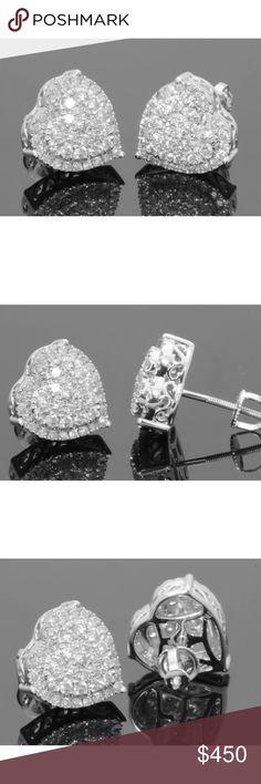 Stunning 0.75 carat 10k diamond heart earrings 0.75 carat 10k white gold diamond heart earrings! High quality! Lots of sparkle! Jewelry Earrings