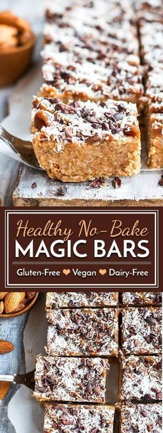 Healthy No Bake Magic Bars Vegan Gluten Free - A Healthy Gluten Free And Vegan Recipe For No Bake Magic Bars That Is Full Of Nuts Coconut Cacao Nibs And Natural Sweeteners Hello Healthy Meet Delicious A Deliciously Healthy Dessert That Does Gluten Free Desserts, Dairy Free Recipes, No Bake Desserts, Eggless Desserts, Vegan Gluten Free, Gourmet Recipes, Vegan Recipes, Dessert Recipes, Diet Recipes