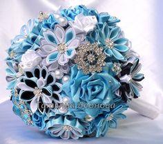 Fabric Wedding Bouquet Brooch bouquet Breath Blue Gray by LIKKO, $75.00