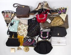 Lot 571: Purse and Handbag Assortment; Sixteen bags, including some that are beaded; together with two compacts, two fans and a pair of shoes