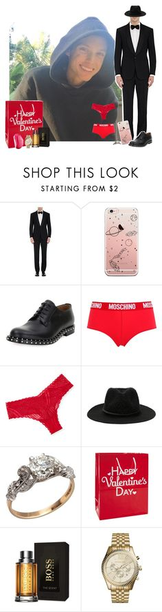 """""""– Harry H"""" by your-gorgeous-anons ❤ liked on Polyvore featuring Carmella, Ralph Lauren Purple Label, Valentino, Moschino, Cosabella, Hollister Co., HUGO, Michael Kors, Tangle Teezer and men's fashion"""