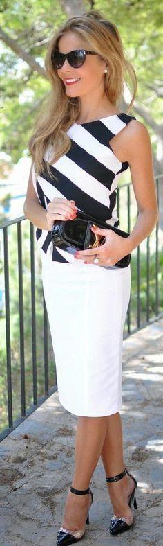 Look elegante com cores neutras! O branco e preto é discreto e chique e é também conhecido pela sigla p&b!