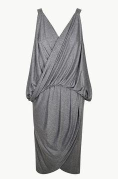 Be a modern Grecian goddess in this midi wrap dress. Featuring a gathered draped front and back with a round pleated wrap skirt, this dress embodies casual elegance.