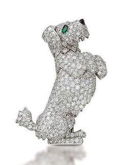 AN UNUSUAL DIAMOND DOG BROOCH, BY CARTIER