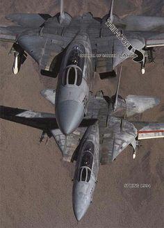 Two Grumman Tomcat in flight Aircraft Parts, Fighter Aircraft, Military Jets, Military Aircraft, Air Fighter, Fighter Jets, Tomcat F14, Grumman Aircraft, Uss Enterprise Cvn 65