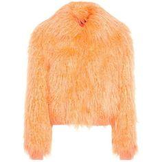 Sies Marjan Muffy Faux-Fur Jacket ($1,655) ❤ liked on Polyvore featuring outerwear, jackets, orange, beige jacket, orange jacket, faux fur jacket and fake fur jacket