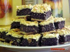 Nagyon mákos kocka Hungarian Cookies, Hungarian Desserts, Hungarian Recipes, Helathy Food, Poppy Cake, Winter Food, Cake Cookies, Food Inspiration, Cookie Recipes