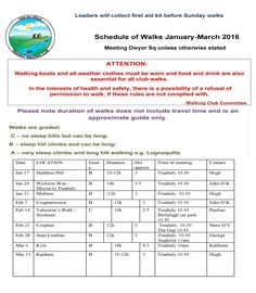 Schedule of walks January-March 2016