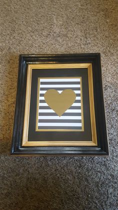 Hand painted frame, stripes, gold and black, heart, paper art by AmyOccasionCrafts on Etsy
